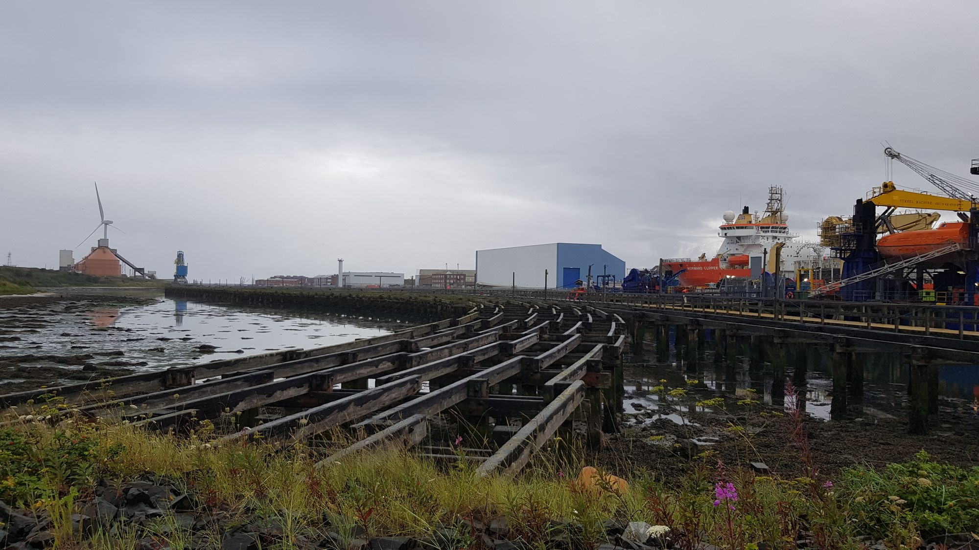 Blyth: former coal staithes with North Sea Link HVDC cable-laying ship